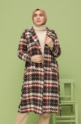 Plus Size Belted Stamp Coat 1069-01 Brown 1069-01