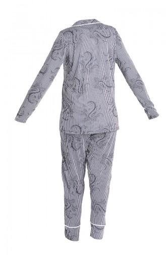 Çizgili Pijama Takım 5627-01 Lacivert