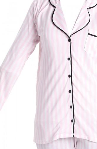 Çizgili Pijama Takım 5629-01 Pudra 5629-01