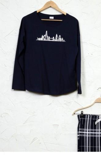 Uzun Kol Pamuklu Baskılı Pijama Takım 50560509 Indıgo