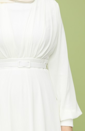 Belted Evening Dress 5422-01 Ecru 5422-01