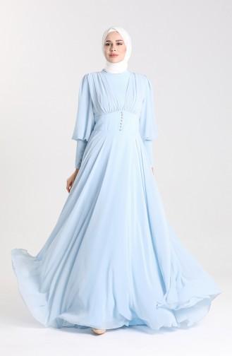 Babyblau Hijab-Abendkleider 5381-05
