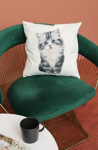 Kedi Baskılı Kırlent 3001 Krem
