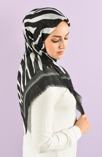 Zebra Desenli Flamlı Eşarp 7838-01 Siyah Beyaz