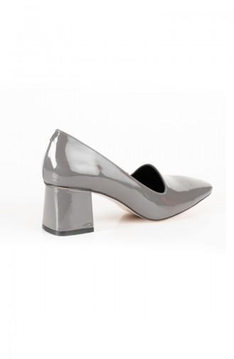Gate Stiletto Topuklu Kadın Ayakkabı ZEN1796-02 Gri Rugan