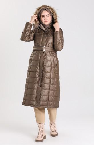Quilted Coat with Belt 5165-01 Dark Khaki 5165-01