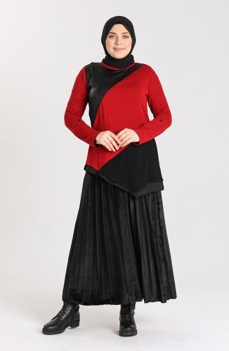 Plus Size Asymmetric Tunic 0206-04 Claret Red 0206-04