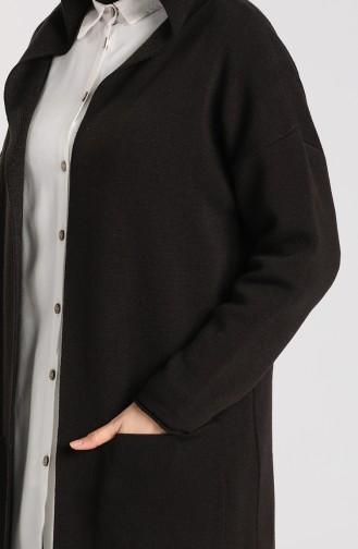 Triko Kapüşonlu Hırka 4241-06 Siyah