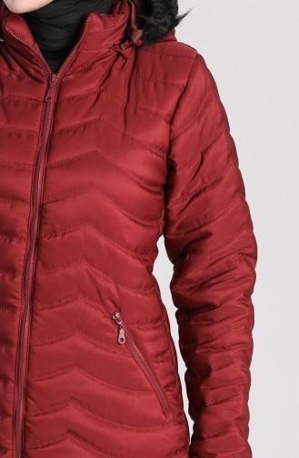 Zipper quilted Coat 1065-03 Burgundy 1065-03