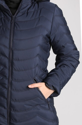 Zippered quilted Coat 1065-05 Navy Blue 1065-05