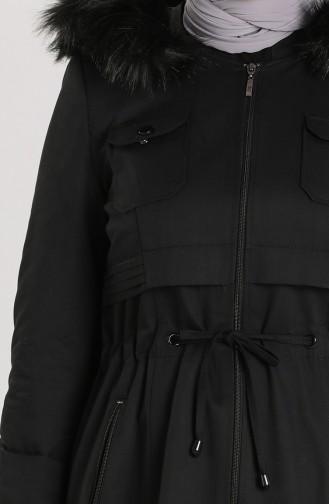 Kürklü Fermuarlı Mont 5753-01 Siyah