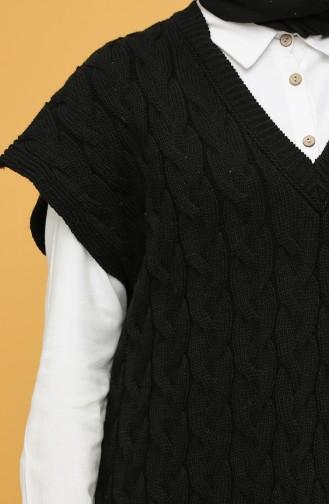 Saç Örgü Süveter 4266-05 Siyah