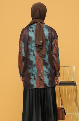 Desenli Gömlek 4373-01 Kahverengi Petrol