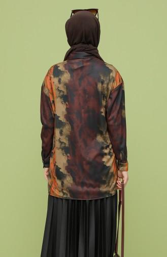 Desenli Gömlek 4373-03 Kahverengi Hardal