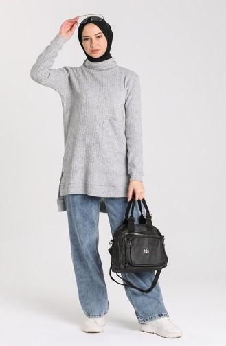 Knitwear Sweater with Pockets 7002-05 Gray 7002-05