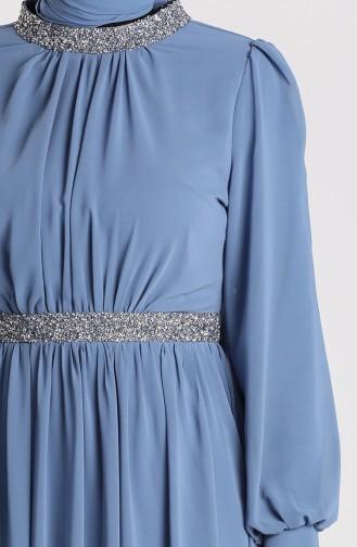 Indigo Hijab-Abendkleider 4850-03