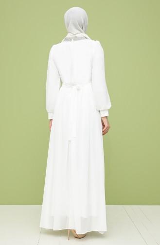 White İslamitische Avondjurk 4850-04