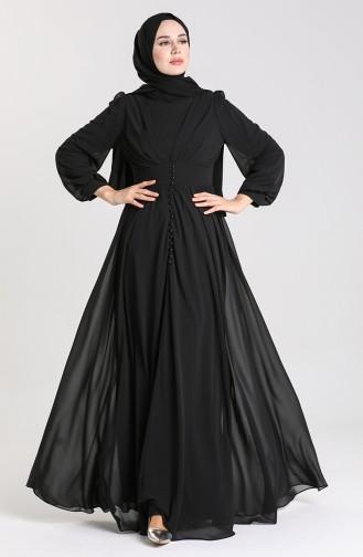 Düğmeli Abiye Elbise 4851-01 Siyah