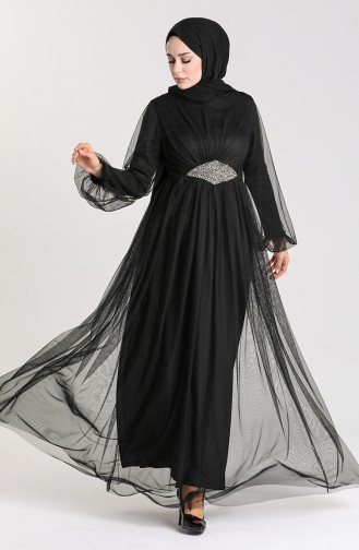 Stone Accessories Evening Dress 5423-02 Black 5423-02