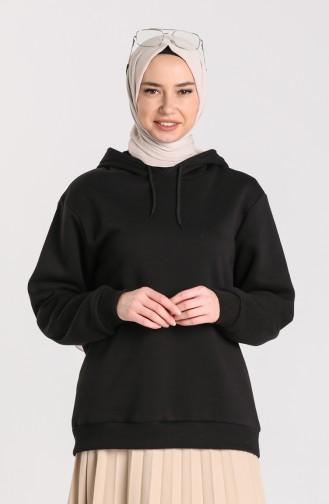 Şardonlu Kapüşonlu Sweatshirt 29662-02 Siyah