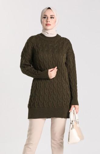 Knitwear Knit Patterned Sweater 4270-02 Khaki 4270-02