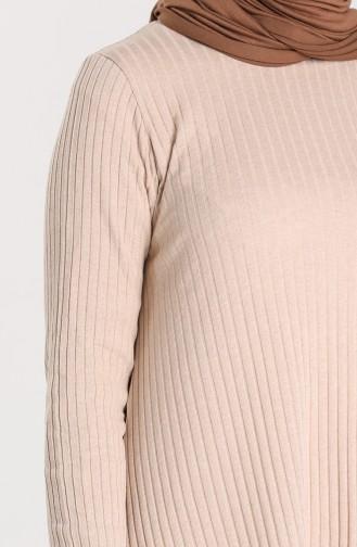 Asimetrik Tunik Pantolon İkili Takım 7730-07 Bej