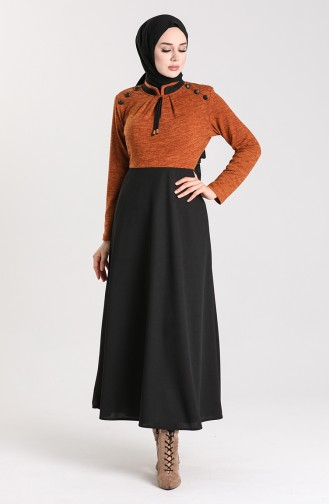 Düğme Detaylı Elbise 2003-06 Taba
