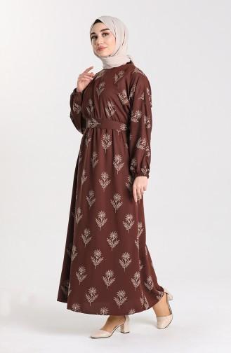 Desenli Kuşaklı Elbise 21Y8208A-01 Kahverengi