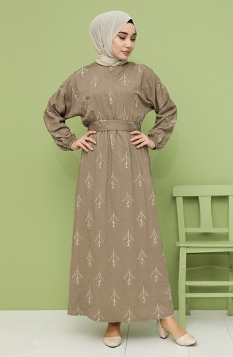 فستان أخضر زيتي 21Y8208A-04