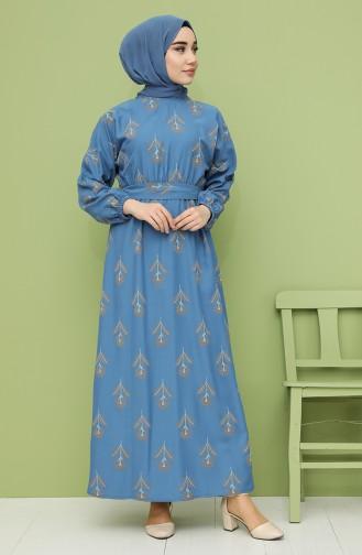 Desenli Kuşaklı Elbise 21Y8208A-06 İndigo