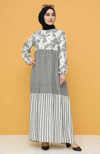 Patterned Viscose Dress 21y8227-01 Black white 21Y8227-01