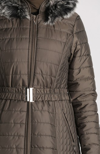 Quilted Coat with Belt 0913-03 Khaki 0913-03