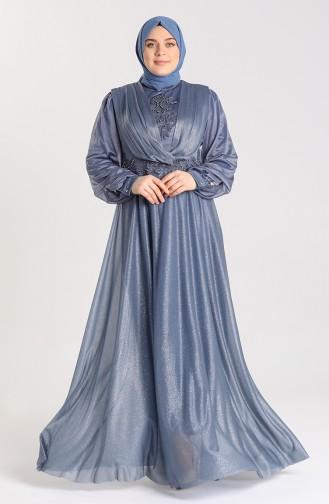 Büyük Beden Simli Abiye Elbise 1022-04 İndigo