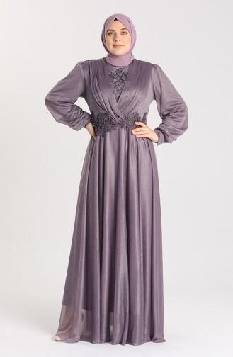 Dark Lilac İslamitische Avondjurk 1022-05