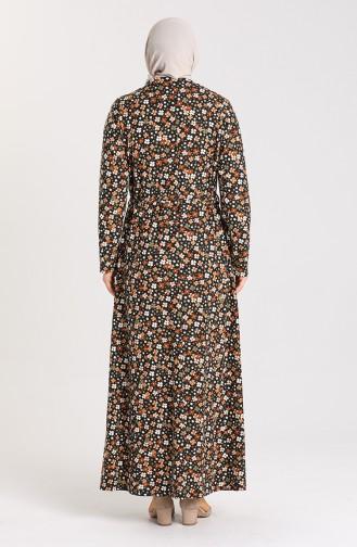 Büyük Beden Desenli Kuşaklı Elbise 4553D-01 Siyah Kahverengi
