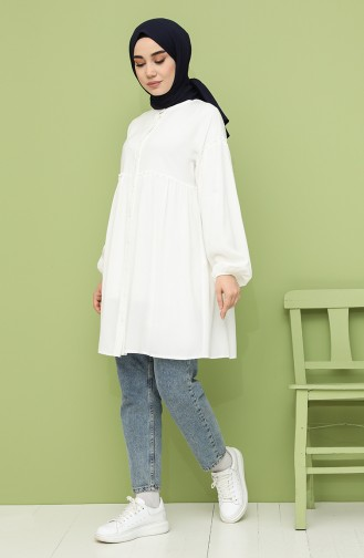 Shirred Tunic 8213-01 Ecru 8213-01