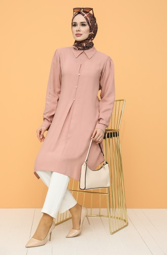 Button Detailed Tunic 8295-04 Dried Rose 8295-04