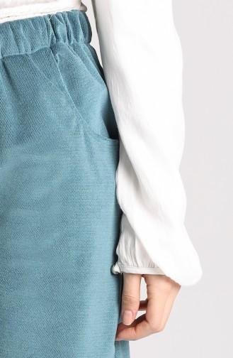 Beli lastikli Bol Paça Pantolon 9033-01 Mavi