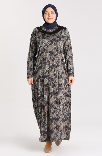 Büyük Beden Desenli Elbise 4785-01 Mor