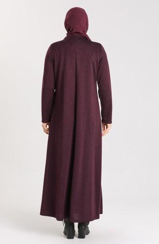 Büyük Beden Taş Baskılı Elbise 4440-01 Mor