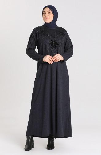 Büyük Beden Taş Baskılı Elbise 4484-02 Lacivert