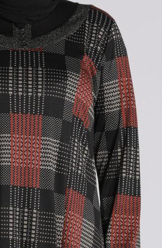 Büyük Beden Desenli Elbise 4873-02 Siyah Kiremit