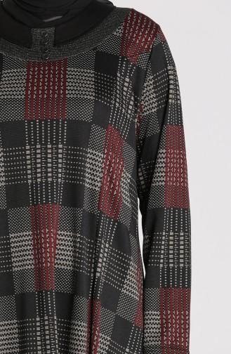 Plus Size Patterned Dress 4873-03 Black Burgundy 4873-03