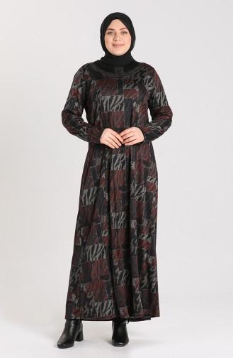 Büyük Beden Desenli Elbise 4873A-03 Kiremit