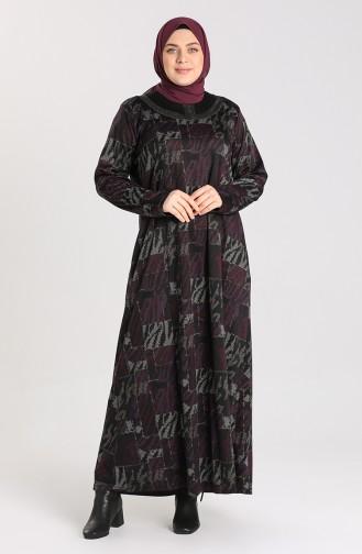 Büyük Beden Desenli Elbise 4873A-04 Mor