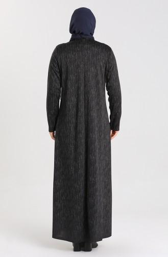 Büyük Beden Desenli Elbise 4873B-01 Siyah