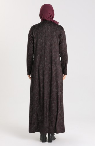 Büyük Beden Desenli Elbise 4873B-03 Mürdüm