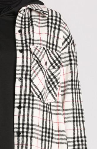 Düğmeli Oduncu Gömlek 2425-01 Ekru
