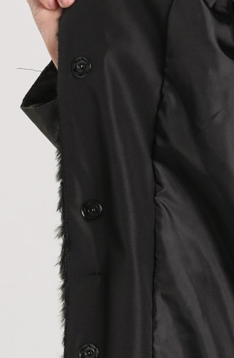 Kapüşonlu Pelüş Kaban 0435-01 Siyah