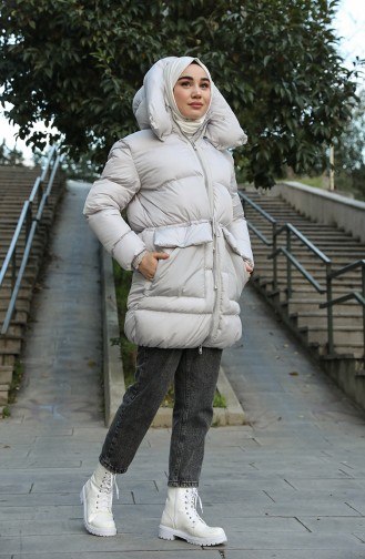 Puffer Jacket with Hood 1496-03 Gray 1496-03